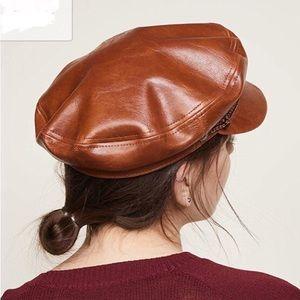 "e16918c4 Brixton Accessories - Brixton ""Fiddler"" tan vegan leather cabbie cap NWT"